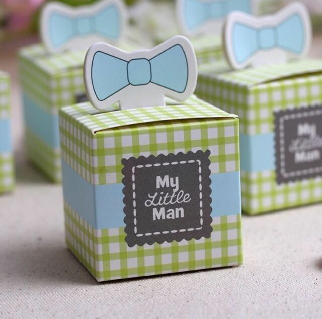 8 x Green Bow Tie My Little Man Favour, Baby Shower, Christening, Baptism, Party