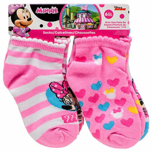 Disney Junior 6 PAIR Minnie Mouse Infant Baby Girl Toddler Socks Shoe 7-10 NEW