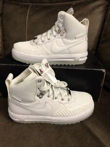 Details about Nike Air Lunar Force 1 Duckboot Triple White GS Sz 6Y Womens 7.5 882842 100