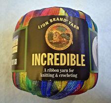 Lion Brand INCREDIBLE Yarn Rainbow 201 FUN Vintage Ribbon 50 Grams