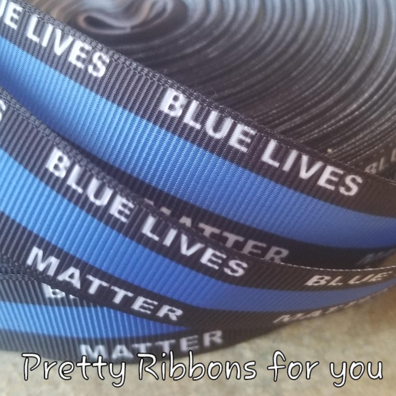 """Blue Lives Matter 7//8/"""" wide grosgrain ribbon 5 yards listing"""