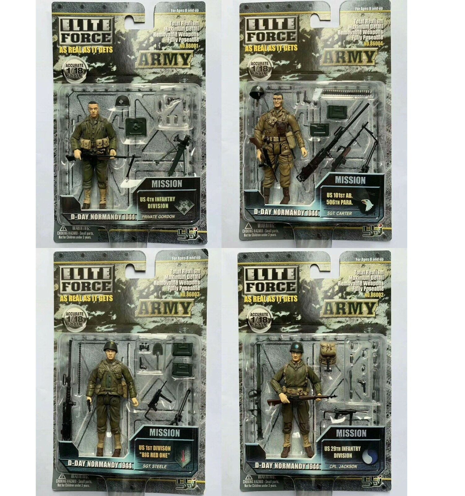 Lot of 4 BBI ELITE FORCE WWII  D-DAY NORMANDY 1944 ARMY ACTION FIGURE 1 18 10cm