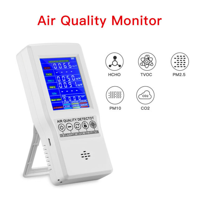 LCD Display Air Quality Monitor HCHO CO2 PM10 Detector Measuring for Office Home