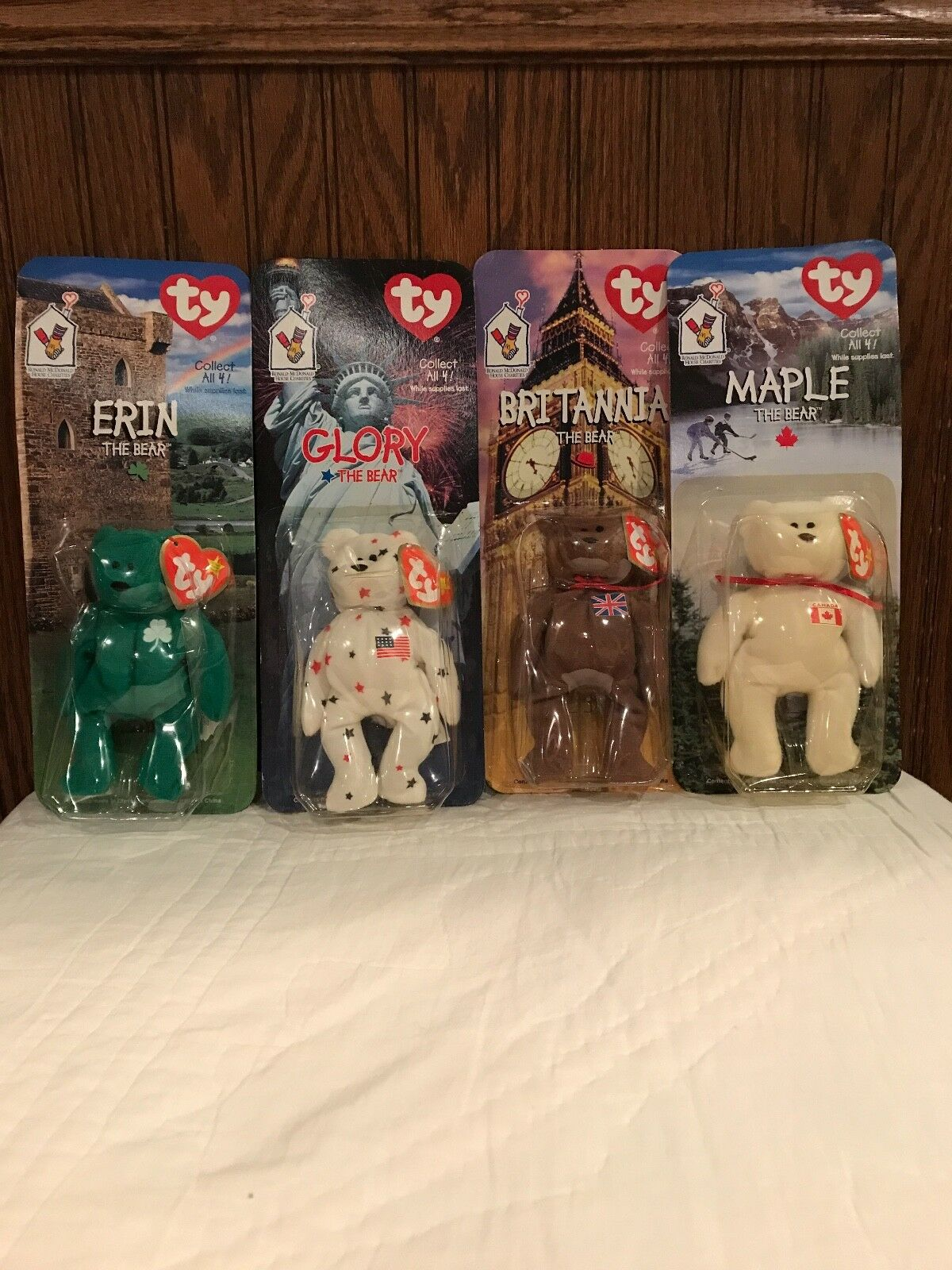 Mcdonalds durch internationale beanie baby - set - ruhm, ahorn, erin & britannia