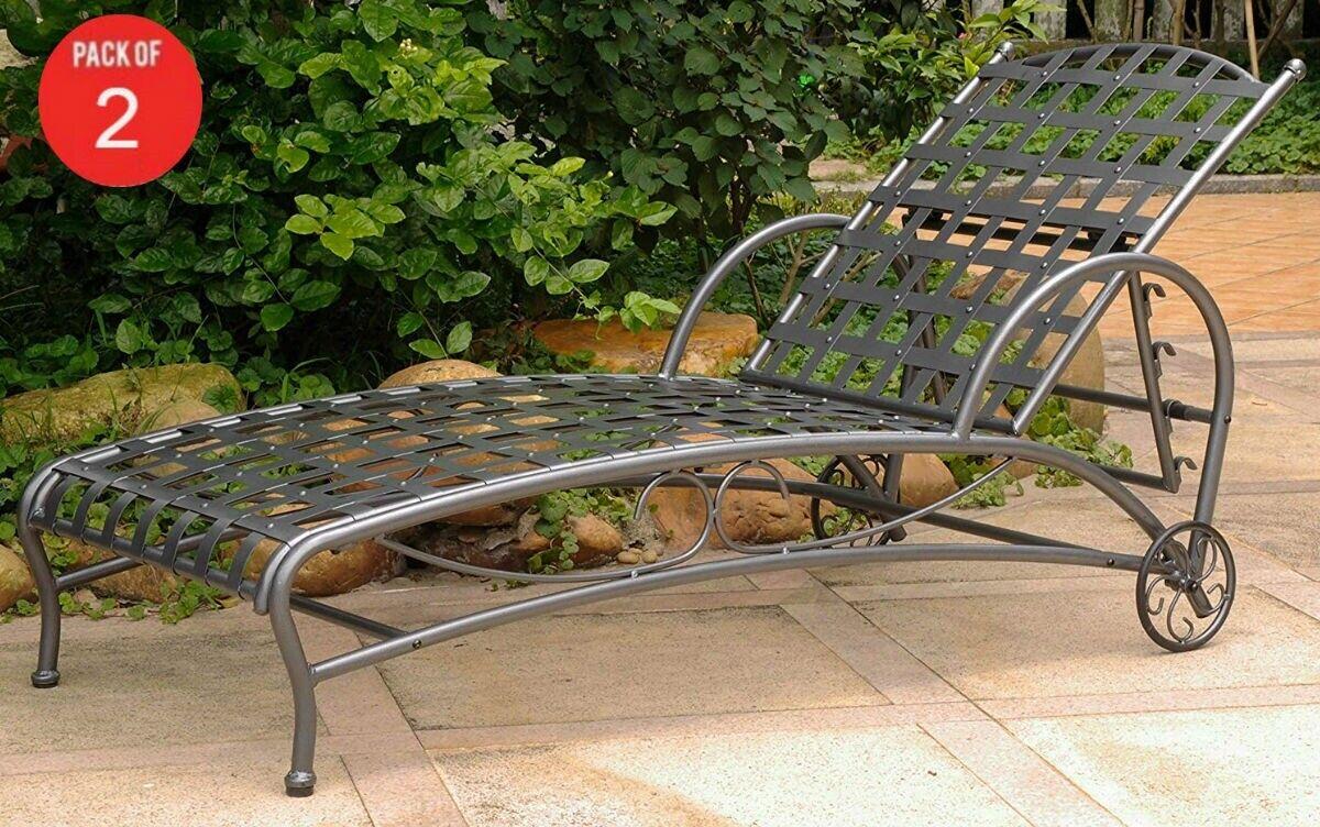 Cocheavan Hierro multi-posición International Patio Chaise Lounge En Peltre (paquete..
