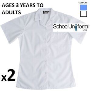 78bcc9836705a2 2 Zeco Girls Ladies Short Sleeve Rever Collar School Uniform Shirt ...