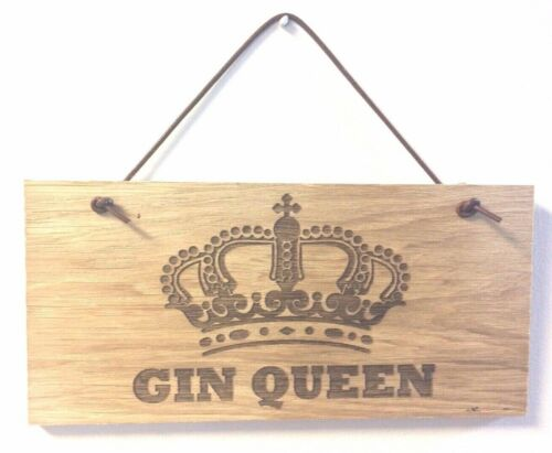 GIN QUEEN Wooden Plaque Door Room Sign with Leather Hanger man cave alcohol