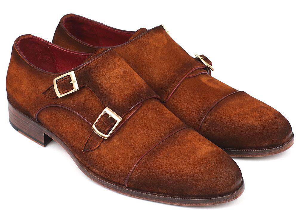 Los últimos zapatos de descuento para hombres y mujeres Paul Parkman para hombre captoe Doble monkstrap Camel Gamuza (ID#045TAB12)