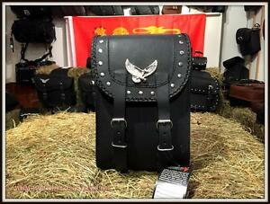 Sacoche-en-cuir-pour-sissi-bar-Modele-Aigle-amp-clous-moto-custom-trike-harley