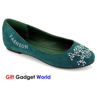 Ladies Ballerinas Dolly Flat Casual Pumps Ballet Soft Shoes 4 5 6 7 D6972 Green