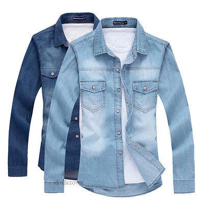 Fashion Mens Boys Tops Cowboy Casual Denim Shirt Stylish Wash Slim Fit Shirts