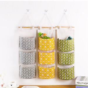 furniture bags Wall Hanging Storage Bag Sundries Organizer Hanger Cotton Linen Bag Holder Cover Home Storage Solutions