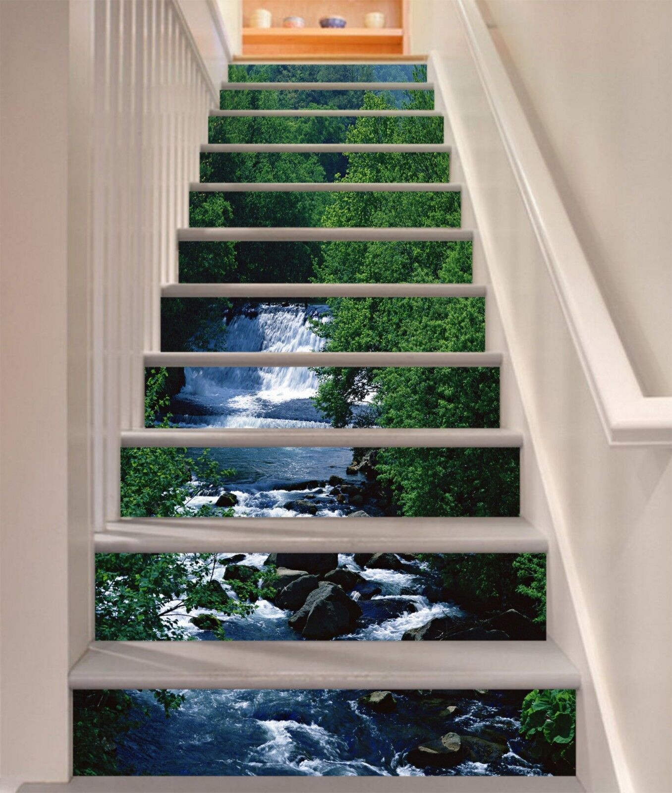3D Trees Water Stair Risers Decoration Photo Mural Vinyl Decal Wallpaper CA