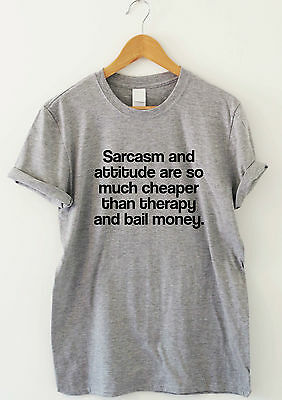 SARCASM AND ATTITUDE funny t shirt humour tee indie grunge top gift men women