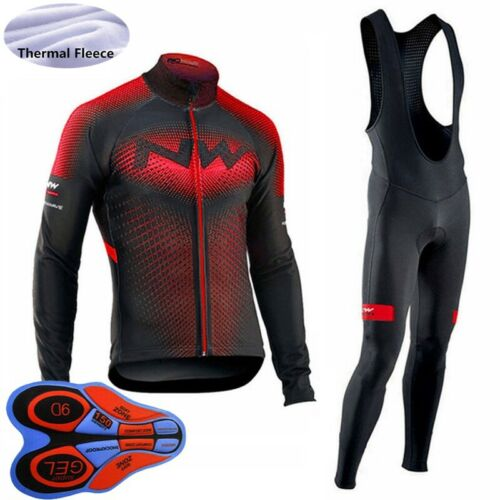 Winter Mens Cycling jersey bib pants Set thermal fleeve long Sleeve bike Outfits