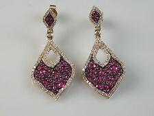 14K Rose Gold Pink Sapphire Diamond Wave Dangle Earrings Tear Drop $3995
