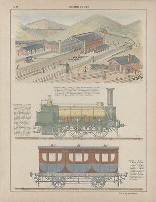 """""""chemin De Fer"""" Planche Typo Originale Entoilée 1913 (ch. Unsinger) 27x34cm"""