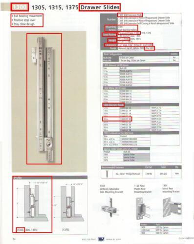 """KV KNAPE /& VOGT #1300B-ZC-20/"""" DRAWER SLIDES STEEL 3//4 EXTENSION ZINC-PLATED"""