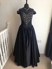 NUOVO LA PRINCESSE NERO VINTAGE Off-shoulder BALLADE sera / Prom Dress UK10
