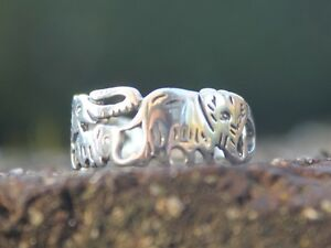 Women-039-s-and-Men-039-s-925-Sterling-silver-elephant-family-cut-out-ring
