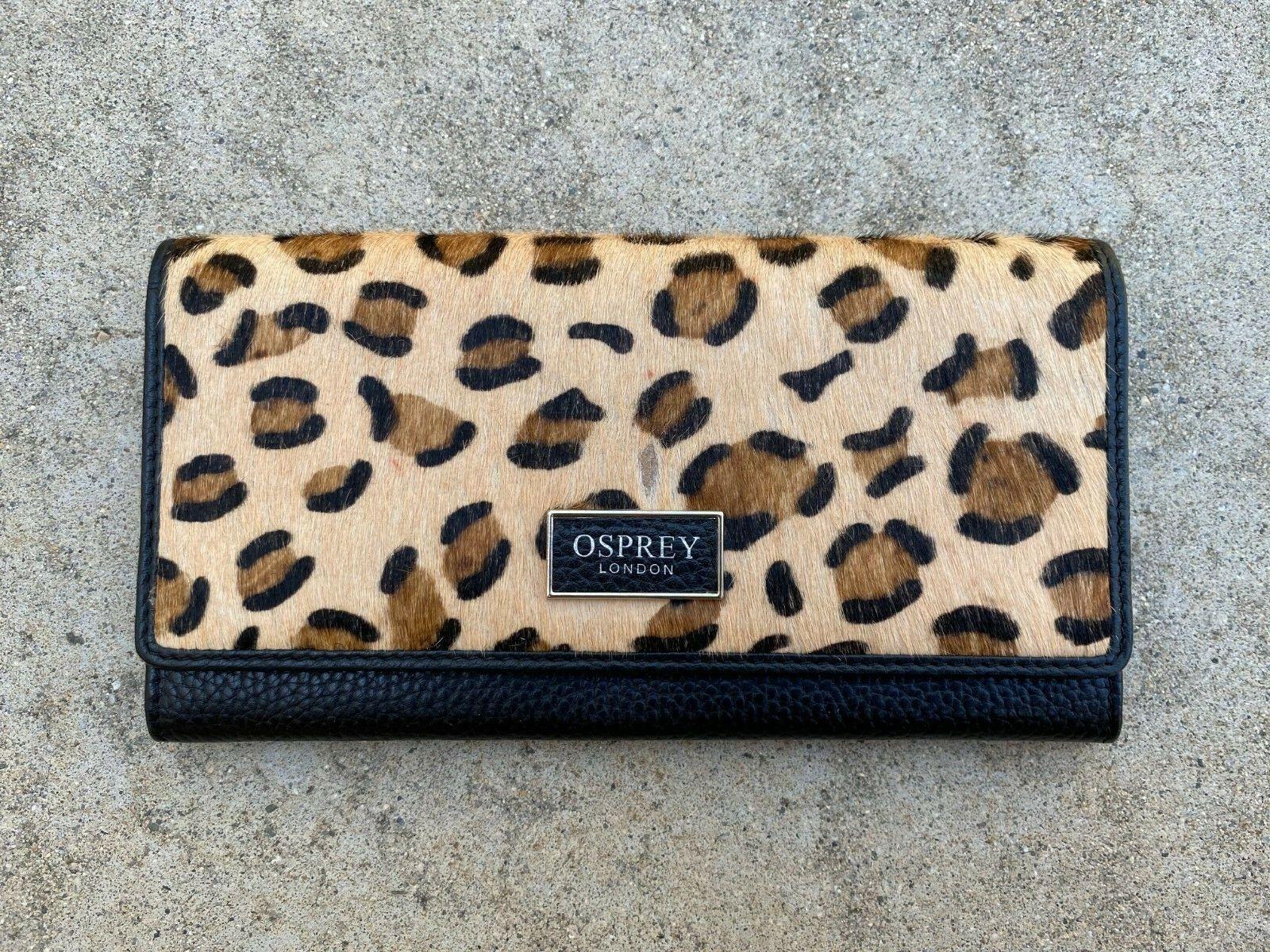 OSPREY LONDON Women's Leopard Julia Bi Fold Calf Hair Leather Wallet Clutch