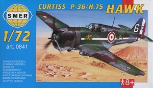 Curtiss-P-36-H-75-Hawk-en-USAAF-et-Francais-1-72-Modele-Kit-Smer-0841