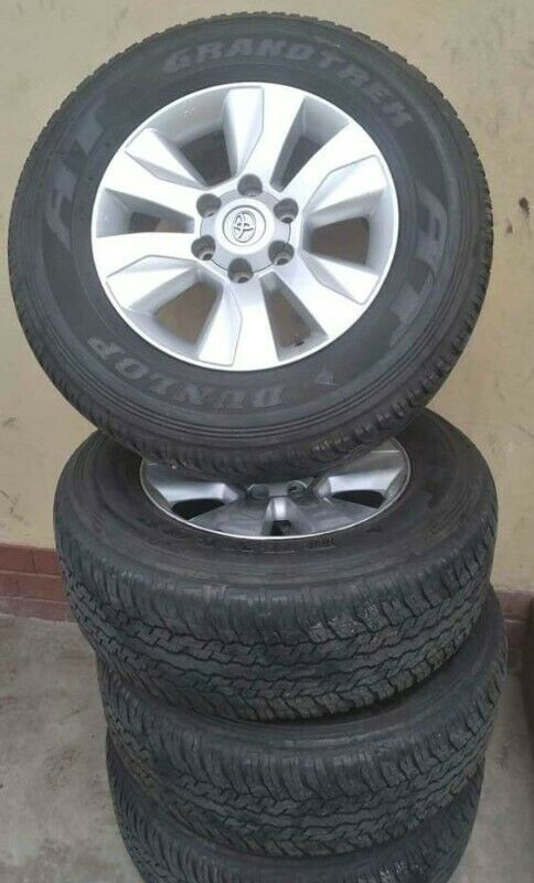 "17""Toyota Hilux/Fortuner mags with used tyres 265/65/17 of about 85% treads set for R8500"