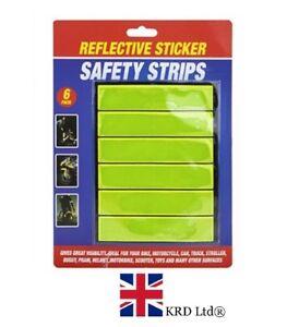 6x REFLECTIVE STICKERS Strips Bikes Trucks Cycling Hi-Viz Safety Sticker Pack UK