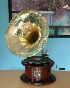 Replica Gramophone  78 rpm vinyl phonograph Brass Horn HMV Vintage Embossed