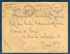 """France - Enveloppe en FM Marine , Aviso """" Bisson """"  St Malo en 1957    réf O 43"""
