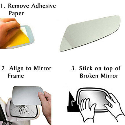 Silver,LH Toyota IQ Wing Mirror Glass 2009 to 2018 Passenger Side