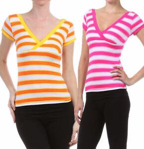 New-Women-039-s-Juniors-Summer-100-Cotton-Top-Striped-V-Neck-Cap-Sleeve-T-Shirt