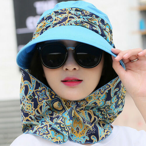 Women Foldable Anti-UV Sun Hat Face Protection Hats Wide Big Brim Summer BL
