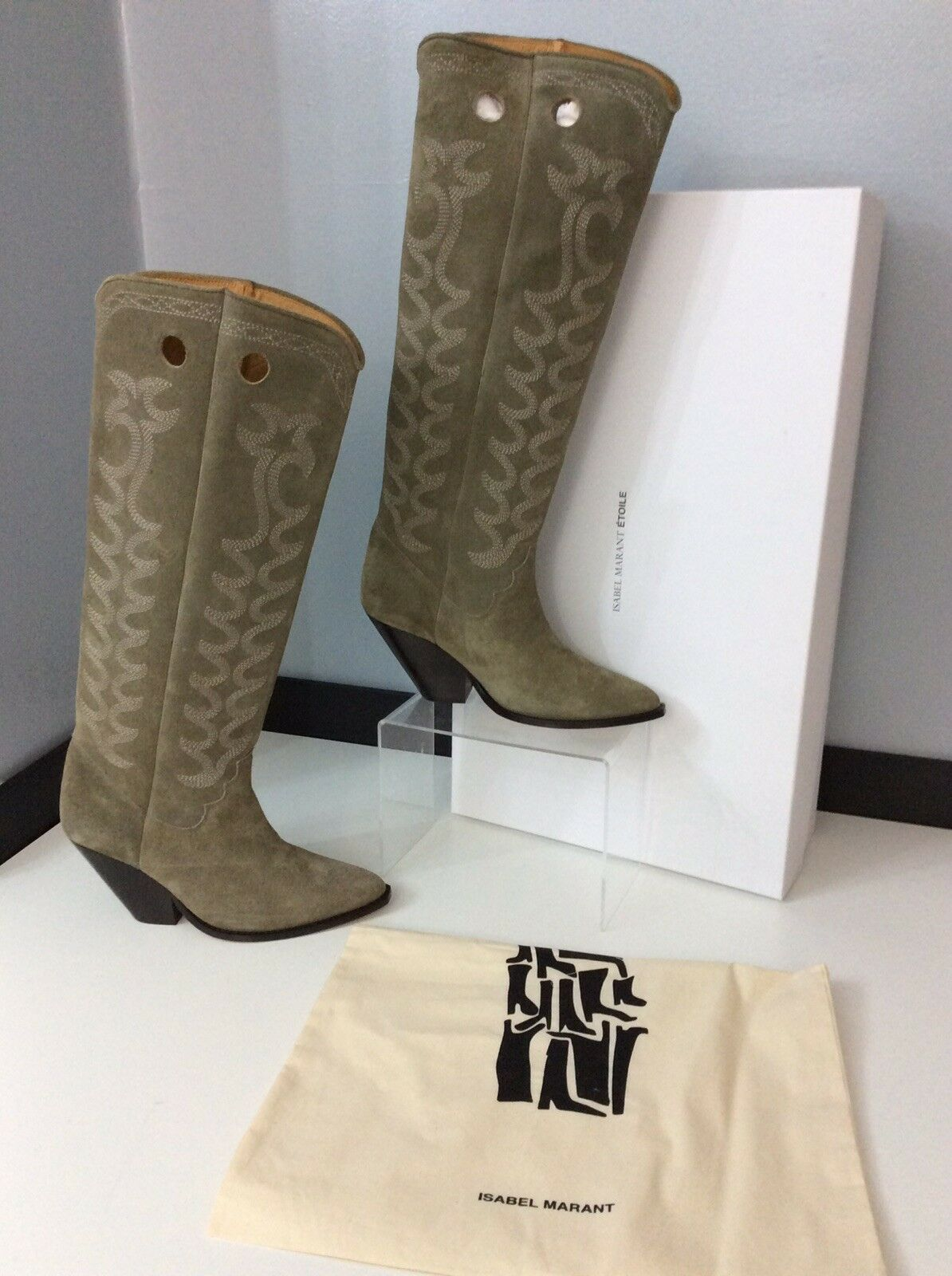 Isabel Marant NEW Deytta Khaki Suede Leather Boots Size 38 Uk 5 BNIB