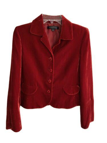 Anne Klein Red Crushed Velvet Button Front Jacket… - image 1