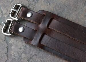 Vintage-1970s-Distressed-Leather-cuff-watch-band-double-straps-amp-steel-buckles
