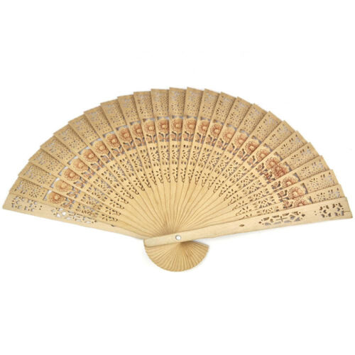 Chinese Folding Bamboo Original Wooden Carved Hand Fan 5 Kj