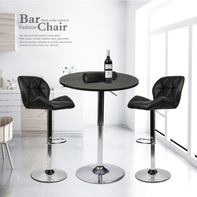 3 Piece Bar Table Set with 2 Stools Counter Height Pub Kitchen Dining  Furniture