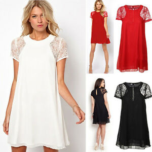 d87dbcbd19b2 Women Lady Swing Chiffon Lace Short Sleeve One-Piece Shift Dress ...