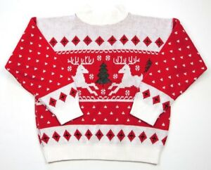 Vintage-Red-Acrylic-Reindeer-Ugly-Christmas-Sweater-Womens-Sm-Turtleneck