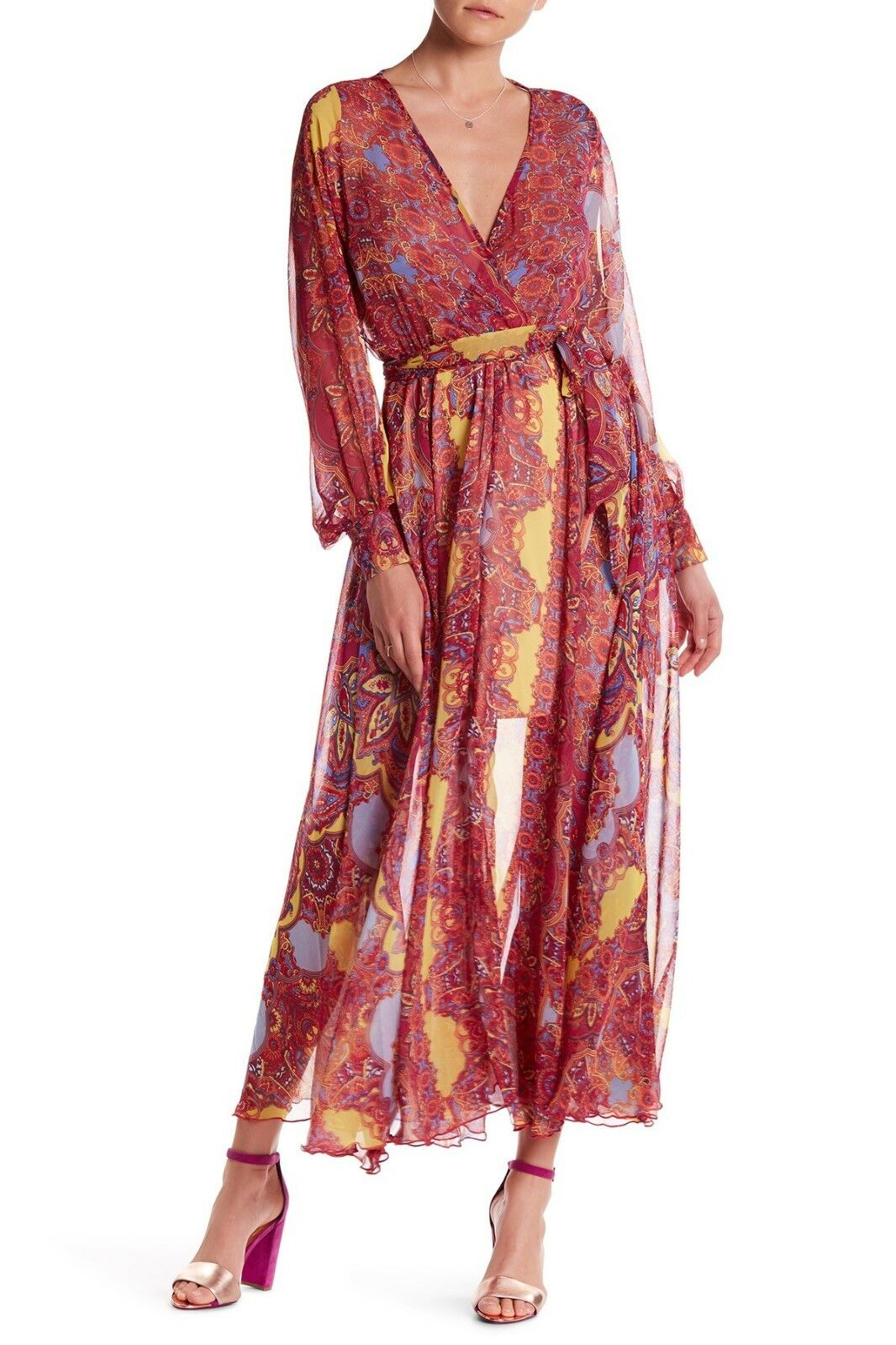 348 New Meghan LA Mon Cherie Wrap Maxi Dress Long Sleeves Burgundy Size Small S