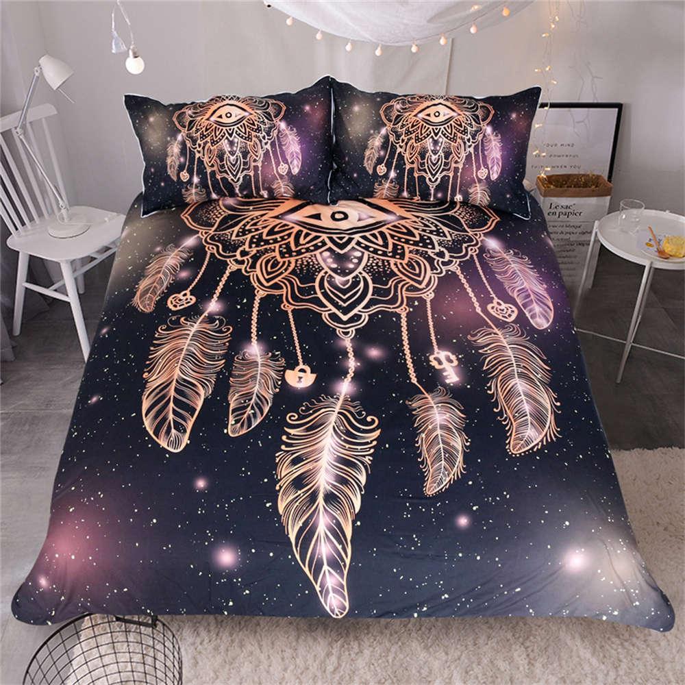 Glow golden Beauty Leaves 3D Digital Print Bedding Duvet Quilt Cover Pillowcase