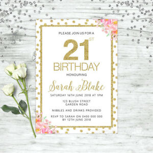 Image Is Loading 21ST BIRTHDAY INVITATIONS PARTY SUPPLIES FLORAL PINK GOLD