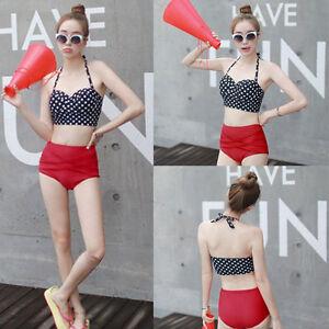 75da76d4d63 Details about Vintage Retro Rockabilly High Waisted 50s Style Bikini  Swimsuit Hot Sexy QT