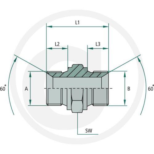 Idraulica /_ RACCORDO /_ ga 1 M-PNL x 1.1//2 M-BSP /_ doppio capezzolo /_ ADAPTER /_ TRATTORE
