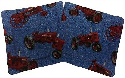 International Farmall H and F Series Tractor Blue Denim Window Valance Gift
