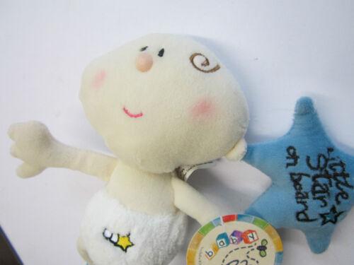 Rattle Bell Inside Baby Boy Blue Little Star on Board Car Window Cuddly Teddy