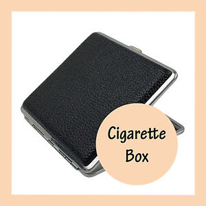 Stainless Steel Cigarette Case Cigar Tobacco Pocket PU Leather Pouch Box Holder