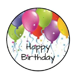 Image Is Loading 48 Happy Birthday Balloons 4 ENVELOPE SEALS LABELS