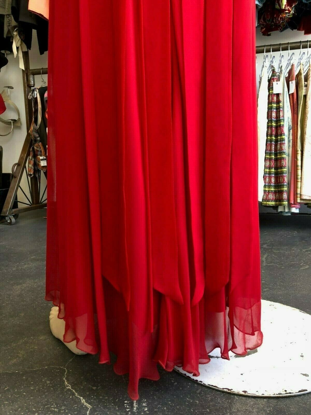 Vintage 80s Holly Harp Red Silk Gown - image 2